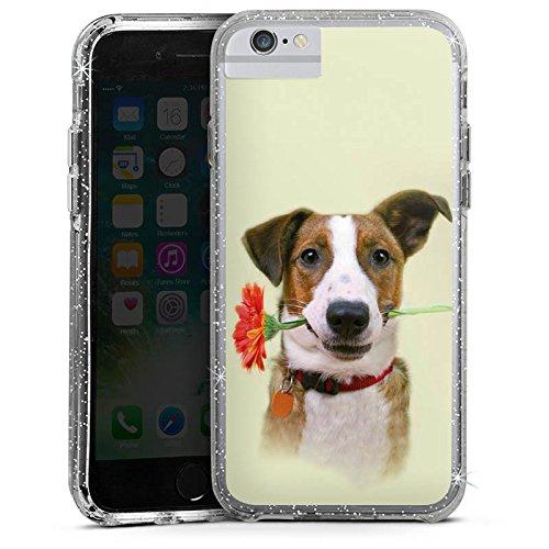 Apple iPhone 6 Bumper Hülle Bumper Case Glitzer Hülle Chien Dog Hund Bumper Case Glitzer silber