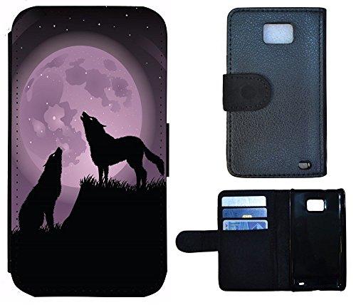 Schutz Hülle Flip Cover Handy Tasche Etui Case für (Apple iPhone 4 / 4s, 1019 Pferd Hengst auf Wiese Weiß) 1017 Wolf Wölfe Mond Nacht