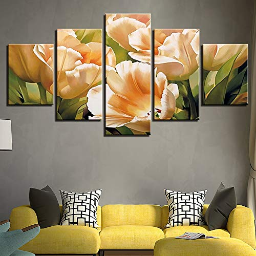 Print Tulip Rock (LAKHAFZY Rahmenlos Canvas Wall Art Pictures Home Decor Frame 5 Pieces Graceful Champagne Tulips Paintings HD Prints Flowers Abstract Poster)