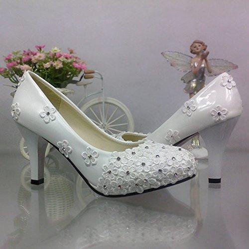 JINGXINSTORE Fiore bianco merletto Lace nozze High-Heeled tondo in cristallo sposa scarpe di prestazioni Bianco