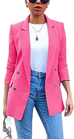 Minetom Cardigan elegante Blazer, giacca a maniche lunghe, tinta unita, per business, slim fit, Bolero