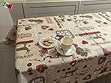 """Tovaglia Cucina Soggiorno """"Chamonix """" Tirolese Country chic Cervi e cuori BORDEAUX rettangolare cm 140x360, 18 persone - Made in Italy"""