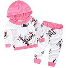 Outfits Koly_Boy Girl Deer Stampa cappuccio Tops + Pants Outfits
