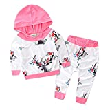 Outfits Koly_Boy Girl Deer Stampa cappuccio Tops + Pants Outfits (70, Rosa)