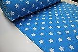 Stoff / Meterware / ab 25cm / beste Frottee-Qualität / Sommer-Frottee-Frottee Sterne weiß auf blau/türkis