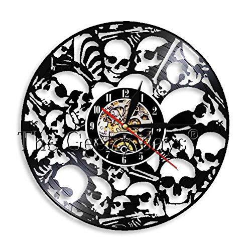 Heads Wanduhr Aus Vinyl Record Vintage Hängen Gestapelte Schädel Wandkunst Halloween Horror Decor Vinyl Clock ()