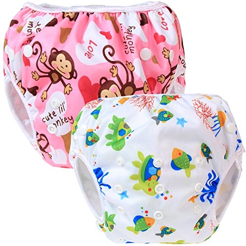 Teamoy 2-teilig Baby Schwimmhose Badewindelhose Badehose (Monkeys Pink+ Sea World))