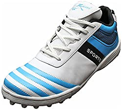 Zigaro Mens White Blue Synthetic Cricket Shoes - 6 UK