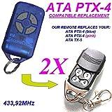 2 X, SATA ATA PTX4 TX5 SecuraCode Garagentor-Fernbedienung, kompatibel für Transmitter. 100% Kompatibel mit ATA/ATA PTX4 TX5! noch bessere Qualität als das original!