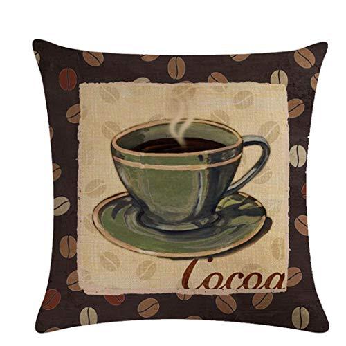 JOOFFF Kaffeetasse Muster Taille Kissenbezug Dekokissen Fall Für Bank Sofa Sitz Dekorative Hause Schlafzimmer Wohnzimmer Dekor Platz 45x45 cm, 1#