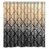 Mexican Muster Gold und Schwarze Sand Bild Entwarf Besonders Polyester Gewebe Benutzerdefinierten Duschvorhang , 66
