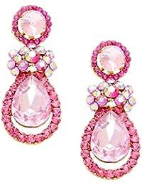 Schmuckanthony Abi Abend Hochzeit Ball Schmuck Lange Ohrringe Kristalle Pink Fuchsia Rosa Aurora Borealis