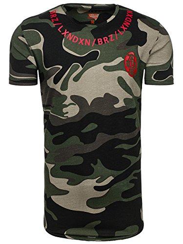 BOLF Herren T-Shirt Tee Camo Kurzarm Print Slim Rundhals Casual Army 3C3 Motiv Grün