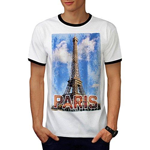 Paris Eiffel Cool Mode Frankreich Kunst Herren M Ringer T-shirt | (Frankreich Männlich Kostüm)