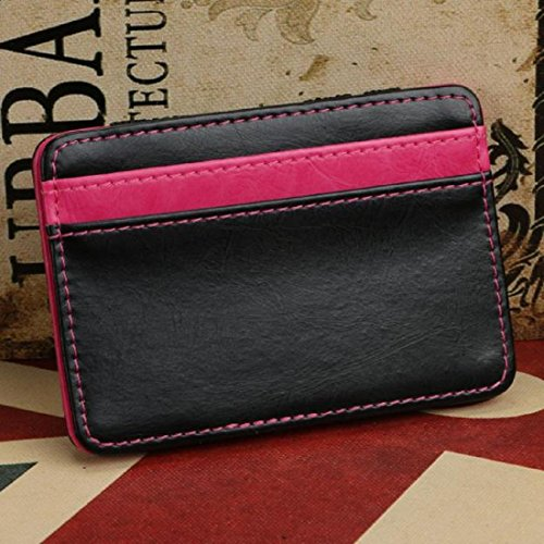 Amlaiworld Mini Unisex Magic Leather Wallet borsa tessera portamonete (blu) rosa caldo
