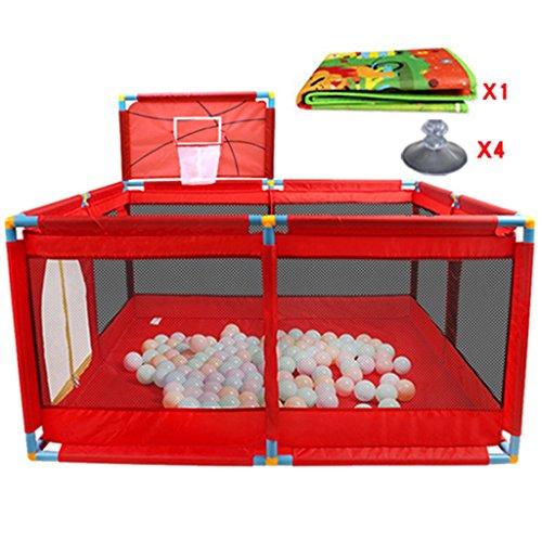 Kleinkind Laufstall Mit Matratze Und Basketballkorb, 8 Panel Indoor Outdoor Faltbare Baby Spiel Yard Fence (Farbe : Rot)