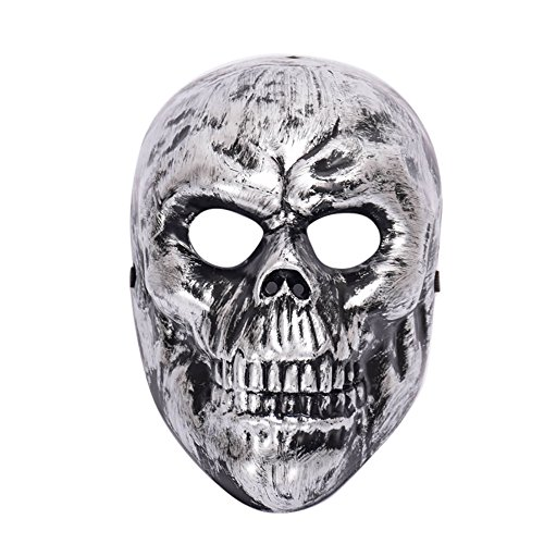 Maske Loveso Halloween Masquerade Ghosts Evil Skull Mask Cosplay Horror Face Head Mask Fancy Party_Silber