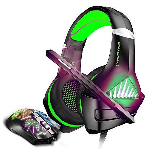 BENGOO GM-5 Stereo Gaming Headset für Xbox One, PS4, PC mit Maus, Geräuschunterdrückung, Over-Ear-Kopfhörer mit Mikrofon, LED-Licht, Gaming Maus mit 3200 DPI einstellbar und 6 Tasten, Grün Grün grün Gm-stereo