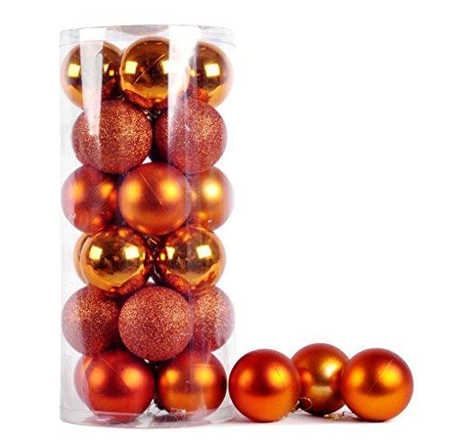 ILOVEDIY 24/48Pcs Boules de Noël en Plastique pour la Décoration Fete Noël (24Pcs - 3cm, orange)