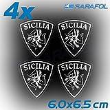 4x Sizilien Trinacria Aufkleber (Nr.067) Weiß Transparent 6,0 x 6,5 cm Adesivo Sicilia Sticker Sicily