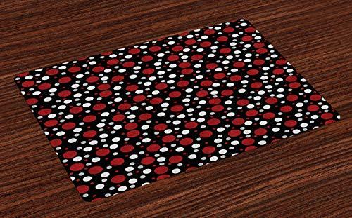 ABAKUHAUS Rot und Schwarz Platzmatten, Retro 60er 70er Jahre Cartoon Schnee wie Polka Dots Circles Rounds, Tiscjdeco aus Farbfesten Stoff für das Esszimmer und Küch, Hellgrau Bordeauxrot und Weiß (Weißen Polka-dot-platten Schwarzen Und)