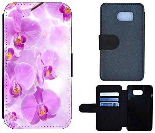 Coque Flip Cover Housse Etui Case Pour, Tissu, 1027 Totenkopf Skull Sensenmann, Apple iPhone 6 / 6s 1024 Orchidee Lila Weiß Blume