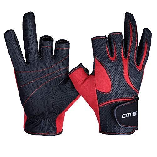Goture Angelhandschuhe Outdoor Sport 2 geschnittene Finger Handschuhe Rutschfest für Angeln Jagd Reiten Radfahren XL 438-Red
