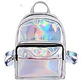 hossty holográfica de la mujer de piel bolso de hombro de viajes mochila escolar bolsas plateado plata talla única