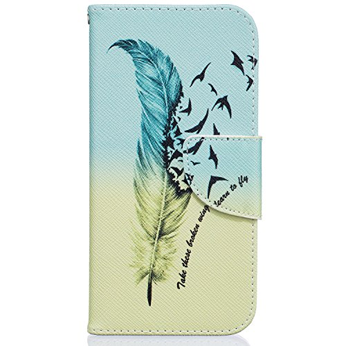 Wallet Ledertasche für iPhone 8 Fall, iPhone 7 Fall beimu Ständer Feature PU Leder Kartenhalter Fällen mit Kreditkarte & ID Card Slot, stoßfest Cover für Apple iphone8/7 11,9 cm 2016, One Feather (Poke Slots Für Mon)