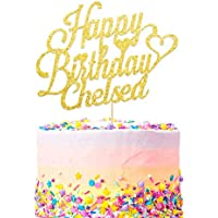Personalised Name Birthday Cake Topper Cake Decorations Any Name - Choice of Colours - Double Sided 400 Gram Glitter Card- Personalise with Any Name