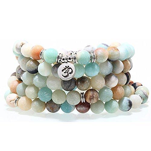 Hyary - Mode Frauen-Armband-Matte Frosted Amazonit Perlen mit Lotus-Leben-Baum OM Buddha Charm Yoga-Armband 108 Mala Halskette [OM]