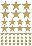 das-label Aufkleber | 46 STERNE gold | OUTDOOR glänzend | unterschiedliche Größen | Valentinstag | Weihnachten | Muttertag | Scrapbook | Geburtstag | Geschenke | zum bekleben von Autos | Tüten | Geschenkkartons | selbstklebende Markierungspunkte