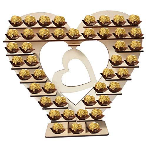 TeasyDay Hölzerne Hochzeit Schokolade Frame Dekoration, Praline Stand, Herr & Frau Herz Baum Display Herzstück Hochzeitsdekoration, für Hochzeiten Abschlussfeiern Candy Bars Parteien Jubiläum (D)