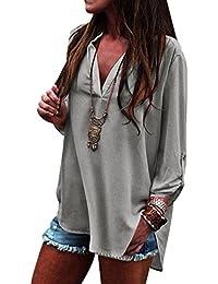 9416d70b4d42d Blusa Gasa Blusas Manga Larga Para Dama Camisas de Mujer Blusones Camisetas  Largas Juveniles Top Cuello en V Boton Tops Camisa Fiesta…