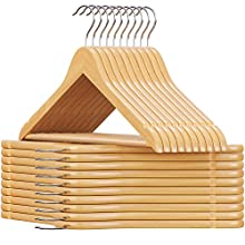 SONGMICS CRW001-20 Maple Wood Skirt Notches Bar 360 Degree Rotation Coat Hanger for Clothes Suit Jacket Trousers Natural, EU 20