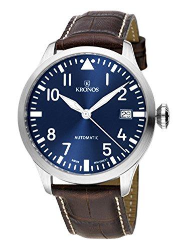 KRONOS - Pilot Automatic Blue 990.65 - Reloj de Caballero automático, Correa de Piel marrón, Color...