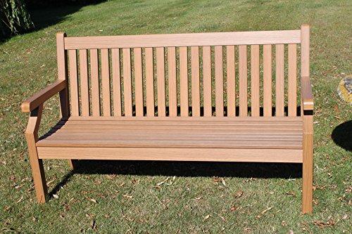 Olive Grove Null Wartung Teak-Effekt Polymer 3 Sitzer Gartenbank - Teakholzfarbe