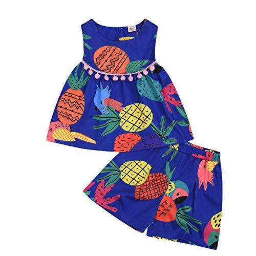 Yuan  Sommer Kleinkind Baby Mädchen ärmellos Ananas Print Quasten Weste Tops + Shorts Outfits Baby Mädchen Prinzessin Kleider Fliegender Ärmel Bogenknoten Kleidung Sommer Lässige Babybekleidung