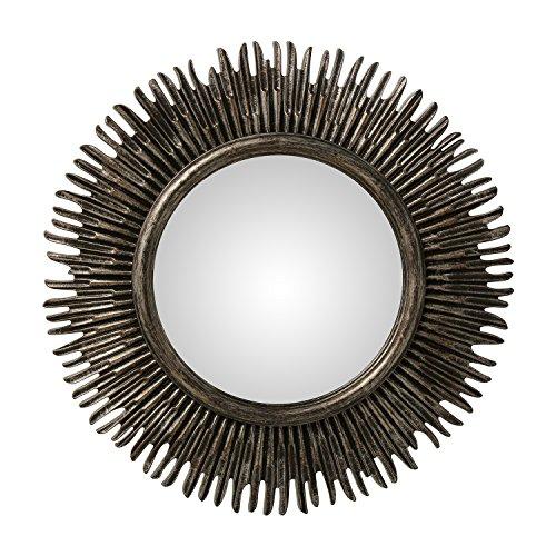 DonRegaloWeb - Espejo de pared redondo de resina con forma de sol en color gris oscuro 58x3cm, interior 30cm
