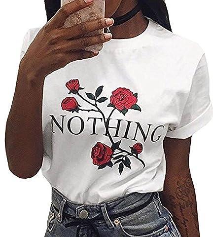Minetom Girl Power T-Shirt Feminismus Hemd 100% Baumwolle Kurzarm Unisex Slogan Spruch Damen T-Shirt Tops Bluse Weiß N DE 42