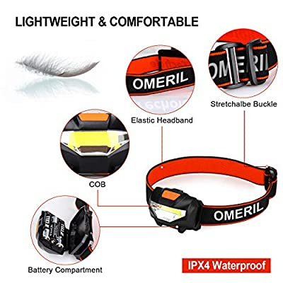 OMERIL LED Head Torch, Lightweight COB Headlamp with 3 Modes, IPX4 Waterproof, Super Bright 150 Lumens LED Headlight for Kids&Adults, Running, Fishing, Camping, Hiking, DIY[3*AAA Batteries Included] from OMERIL
