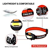 LED Head Torch, OMERIL [2 Pack] Super Bright 150 Lumens Headlights with 3 Modes, Lightweight COB Head Torches for Kids, Running, Walking, Camping, Fishing, Car Repair, DIY & More- 6*Batteries Included