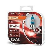 OSRAM NIGHT BREAKER LASER HB3 next Generation, +150% mehr Helligkeit, Halogen-Scheinwerferlampe, 9005NL-HCB, 12V PKW, Duo Box (2 Lampen)