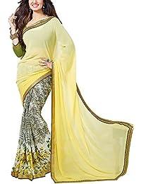 Angel Fashion Studio Women's Georgette Saree (Yellow)