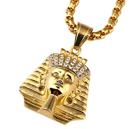 Gudeke Männer Gold überzogenes Strass Ägypten Pharao Halsketten -