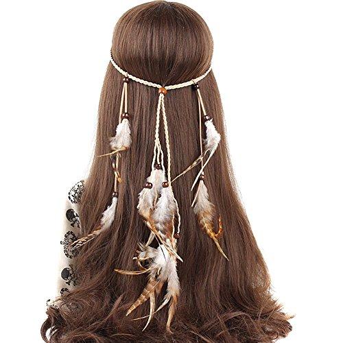 Ssowun Stirnband Bohemien,Haarbänder Federn Indianer Kopfschmuck Hippie Indisch Haarband Haarschmuck für Party Strand Fotografie EINWEG ()