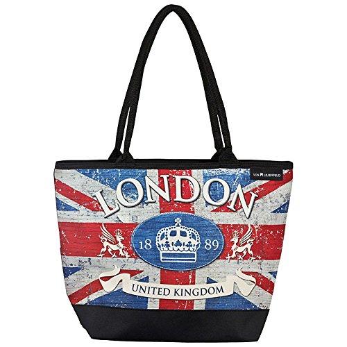 VON LILIENFELD® Tasche Damen Henkeltasche Shopper Bedruckt Motiv Vintage Flagge London