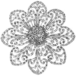 Broche plateado con forma de flor en tono plata