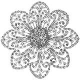 Broche Alfiler Flor Diamantes de Imitación Aleación Joyas para Novia Boda Color Plata