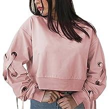Sudaderas mujer Amlaiworld Mujeres vendaje manga larga suelta sudadera blusa Tops cortos sudaderas tumblr